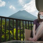 Enjoying Coffee on the Balcony with Arenal in View