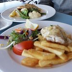 Blue-Eye with chips and salad and the snapper with veggies.