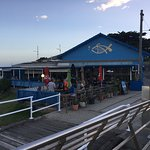 The unassuming Lorne Pier Seafood Restaurant, large outside deck with plenty of sun or shade.