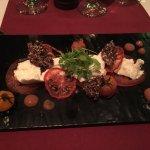 Tomato 4 ways with bocconcini & quinoa crisps