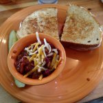 Tucker's Chipotle Grilled Cheese on Sourdough & grass fed beef chili