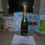 Hubby was provided with bubbly and a lovely message