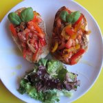 Vegan bruschetta on organic home made bread and grilled vegetables. :-)
