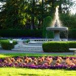 The fountain at Manito Park at sunset