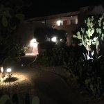Path at night between rooms.