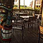 Tikis are located throughout the hotel's thirteen acres