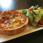 Our scrummy quiche was lovely and hot