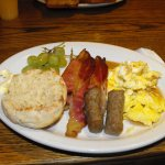 My breakfast choice. Scrambled eggs, sausages, bacon, english muffin