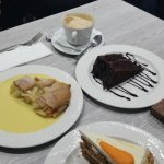 Carrot cake with squirty cream, apple pie with watery custard, chocolate cake