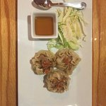 Dumplings (minus 1....we couldn't wait)! Fresh cabbage garnish and amazing sauce!