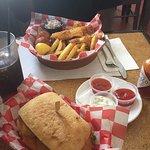 fried fish sandwich and fried shrimp basket