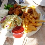 fried scallops/salad/chips/and good sauces