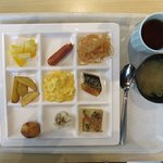 My breakfast choices Day 2. Enjoyed the miso soup.
