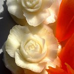 beautifully carved vegetable roses