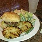Burger, Potatoes and Caesar Salad