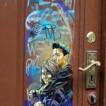 Street art shows up even on residence doors