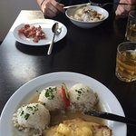 Chicken with pineapple, cheese and rice and classic slovak pierogi with sheep cheese and bacon.