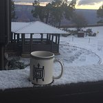 Oh, snow!!! (but such cute coffee cups they have here!)