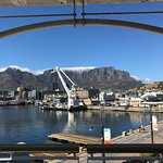 The harbour is a working harbour and Table Mountain is in the background