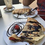 strawberry and nutella and banana and nutella crepes for pancake day, delicious