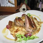 Rose duck breast with cabbage pasta, honey-apple caramel and lavender jelly.  Very delicious!