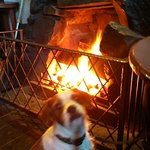 Enjoying the fire in Drift Inn