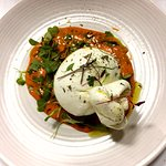 Buratta with grilled red pepper cream