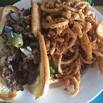 Philly cheesesteak with onion straws