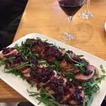 Bacon wrapped pork loin with cranberry mostarda that we made