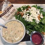 Clam chowder, goat's cheese salad with beetroot dressing, yummy!