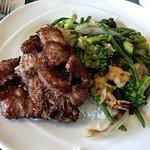 pork chop with shrimps and vegetables