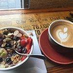 Steel cut oats and hazelnut latte.