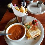 Grilled cheese and soup meal