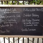 Hominy's shameless chalk board of desserts...everyone a Comfort Food Winner
