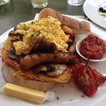 Big breakfast with scrambled eggs (and an amazing chilli jam)