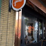 Jeni's outside sign, not too big, could be easy to miss