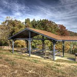 Covered picnic area with huge party grill & pond view