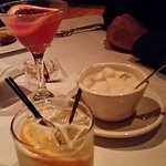 Cocktails: Veracruz Margarita and Blood Orange Martini. Cup of clam chowder