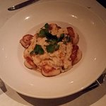 Scallops and risotto with lobster cream sauce