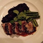 Grilled black&white sesame seed encrusted yellowtail tuna, grilled asparagus and black rice riso