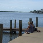 Can we talk? Girl talk, on J.B.'s private dock, sandals off,no worries. . .