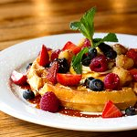 Waffles with Fresh Berries, Maple Syrup