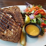 Grilled Corn Beef on Rye with side salad