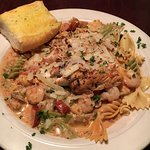 Jambalaya Pasta ( Marinated Chicken, Andoulli Sausage, and Shrimp)