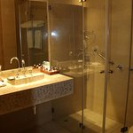 Spacious bathroom with walk in shower. Water pressure is amazing!