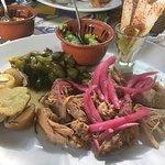 pork with sweet red onion, rosemary potatoes, guacamole