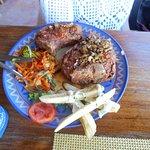 Jerk Pork Chops, fresh veggies mostly grown by Carl in his own garden