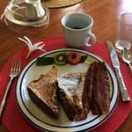 Breakfast one morning: Great Kauai coffee, juice, and Guava French Toast ! WOW