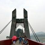 Wooden suspension bridge to the Shibaozhai Red Pagoda