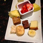 dipping options for the chocolate dessert fondue